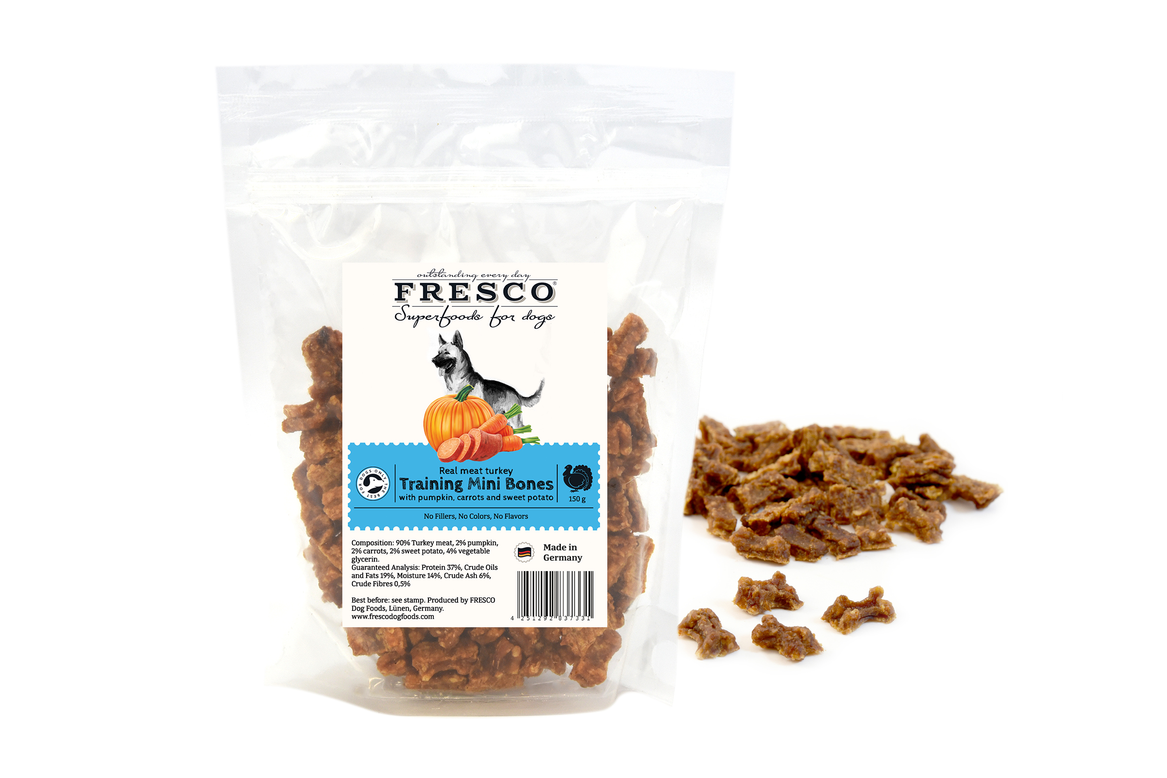 Fresco - Turkey Training Snacks Mni Bones with pumpkins, carrots and sweet potato 150g