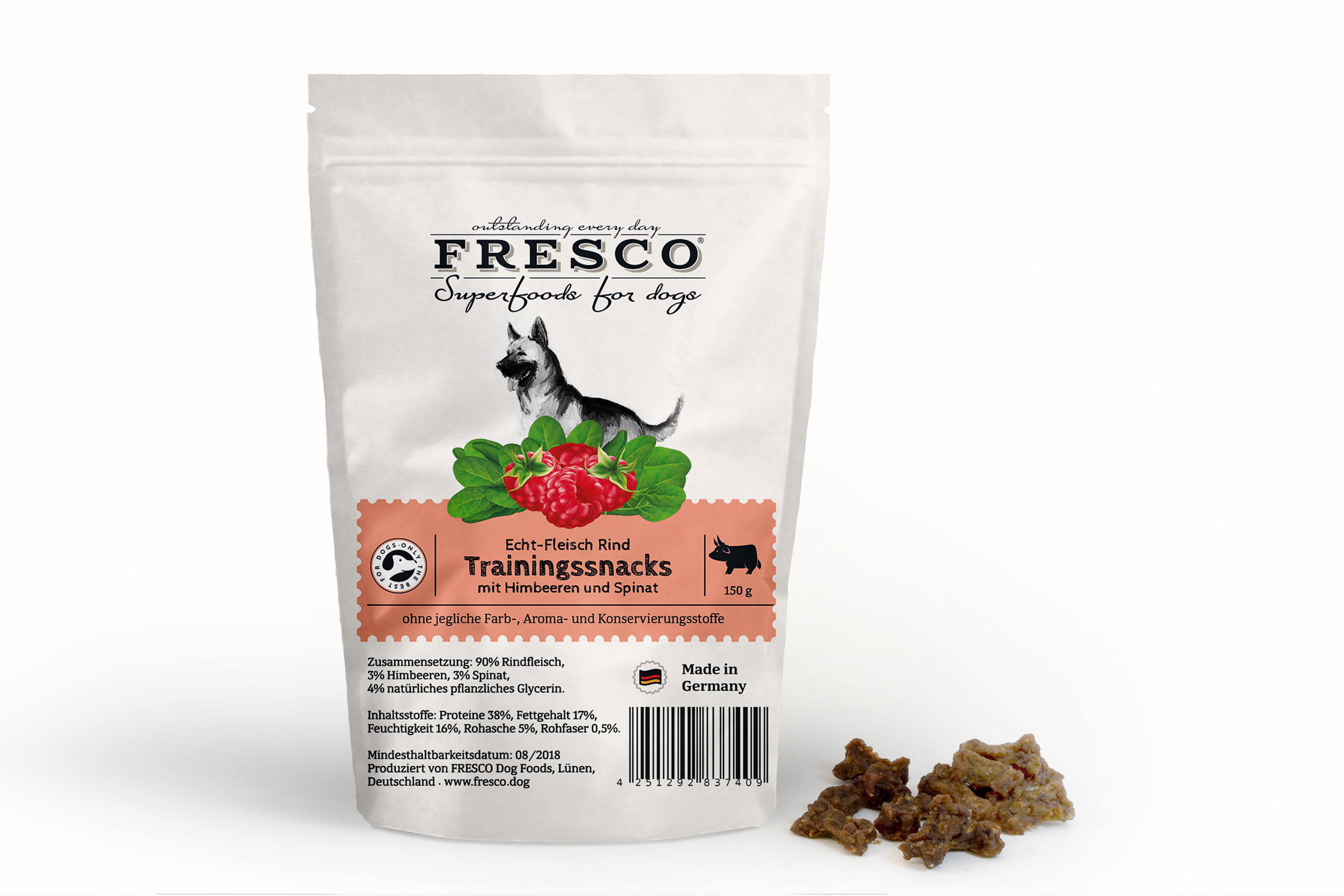 Fresco -Beef Training Snacks Mni Bones with rapsberry and spinach 150g
